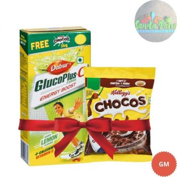 Dabur Gluco Plus-C Lemon 75 Gms, Free Kelloggs Chocos