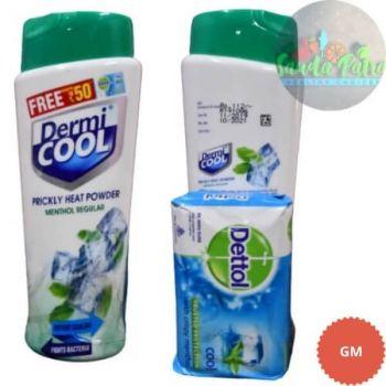 DermiCool Prickly Heat Powder, Menthol Regular, 150gm (Free Dettol Cool Soap, 75gm Worth Rs 30)