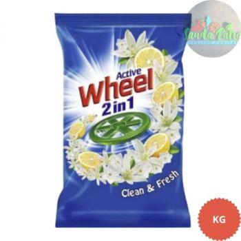 Wheel Active 2 in 1 Detergent Powder - Clean and Fresh (Blue), 2kg Pouch